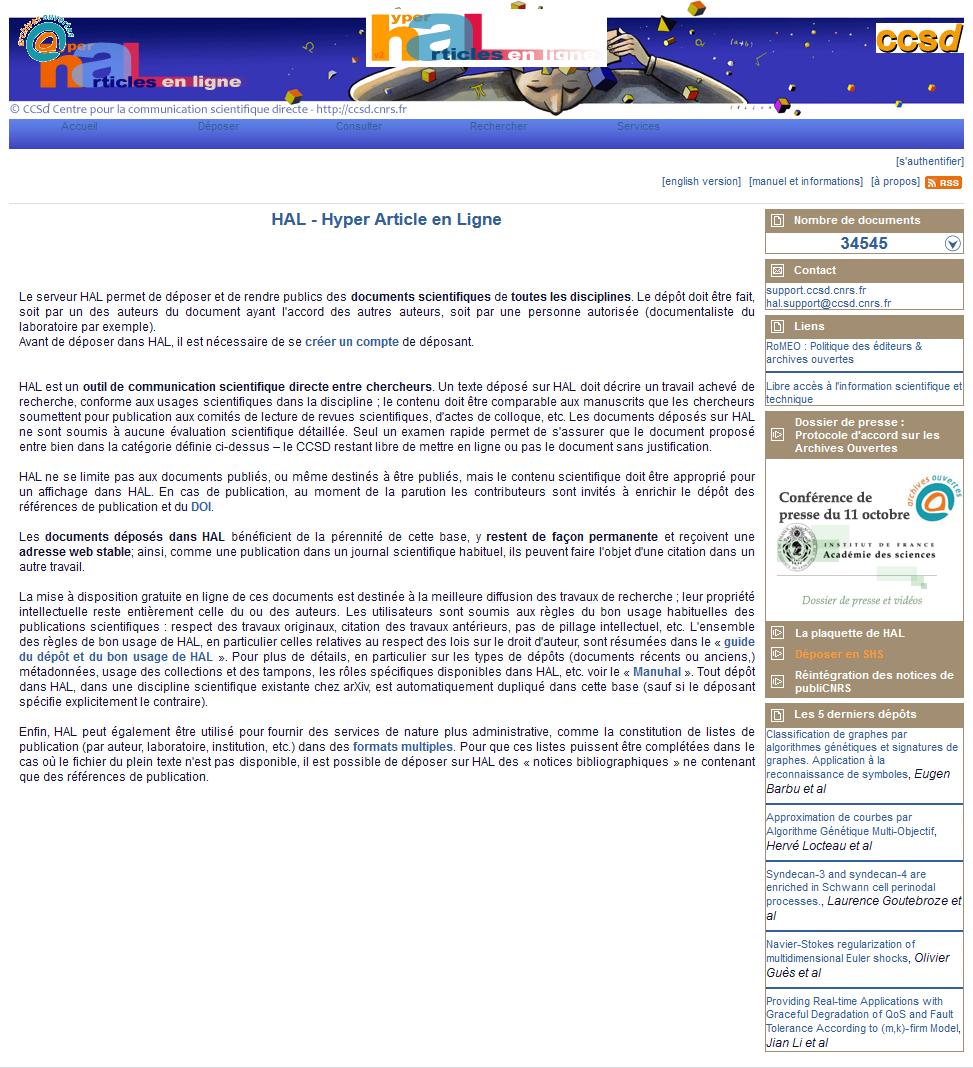 Page d'accueil de HAL en 2006